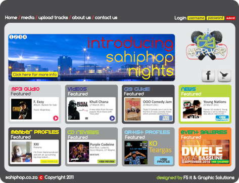 Proposed sahiphop.co.za website design