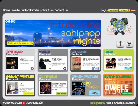 Proposed sahiphop.co.za website design
