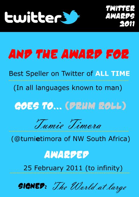 @tumietimora's Twitter Award - Courtesy: Me