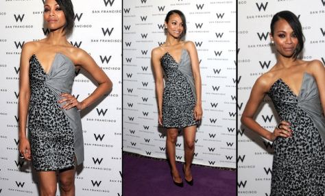 Exhibit A: Zoe Saldana -animal-print dress